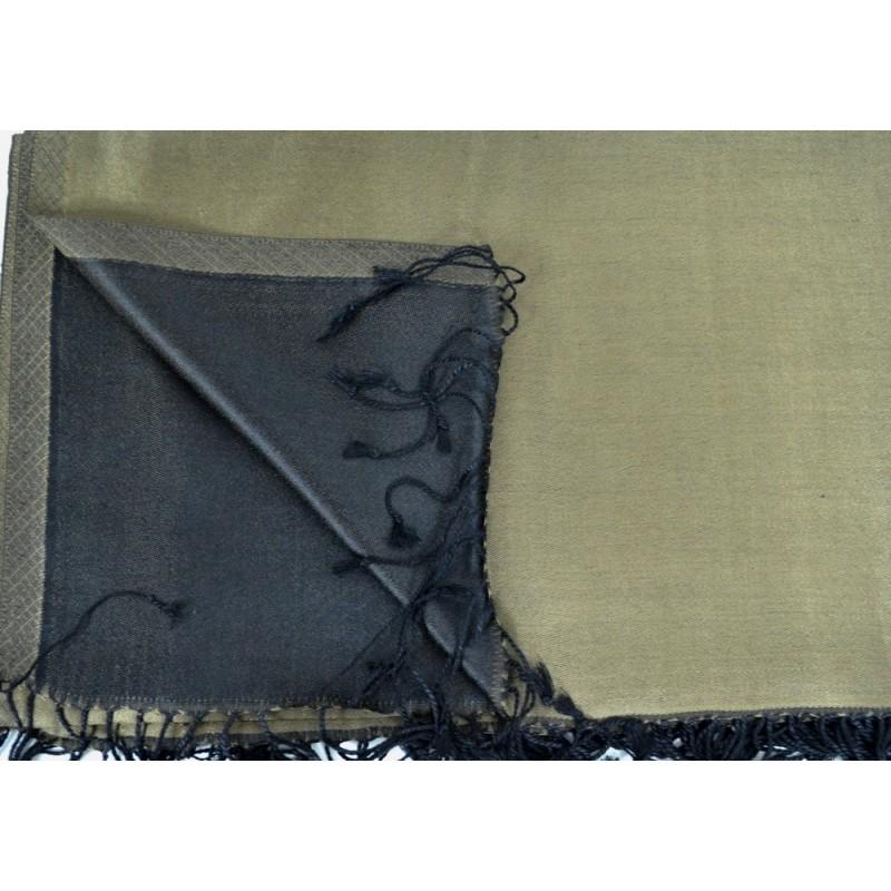 Etole en soie réversible marron et noire