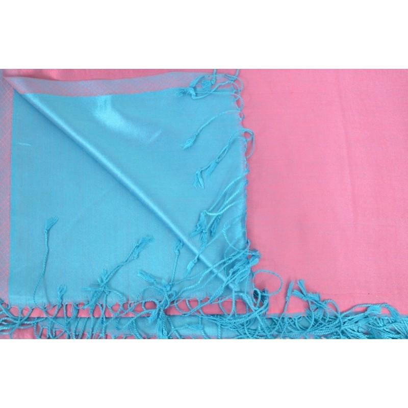Etole en soie réversible rose et bleue