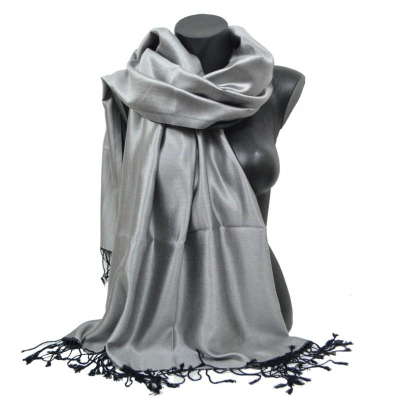 Etole en soie indienne grise et noire