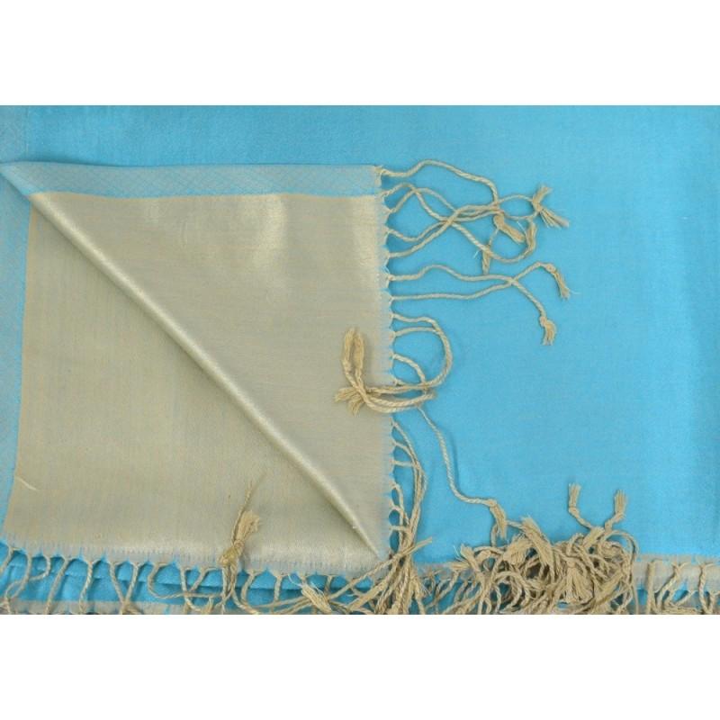 Etole en soie réversible turquoise et beige