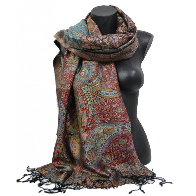 Pashmina en soie antique jacquard noir, bleu, rouge