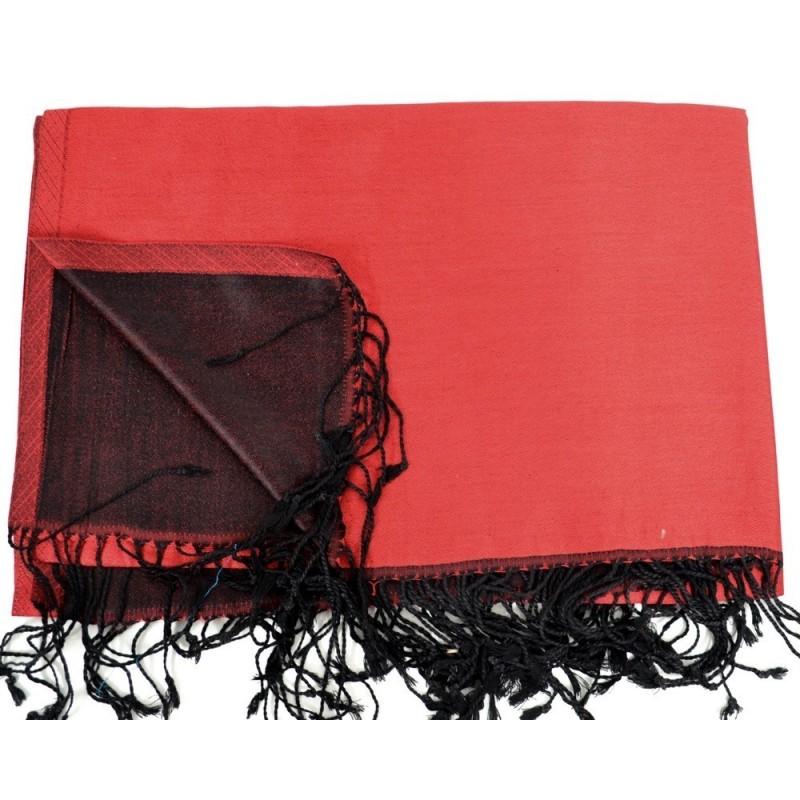Etole en soie réversible rouge et noire