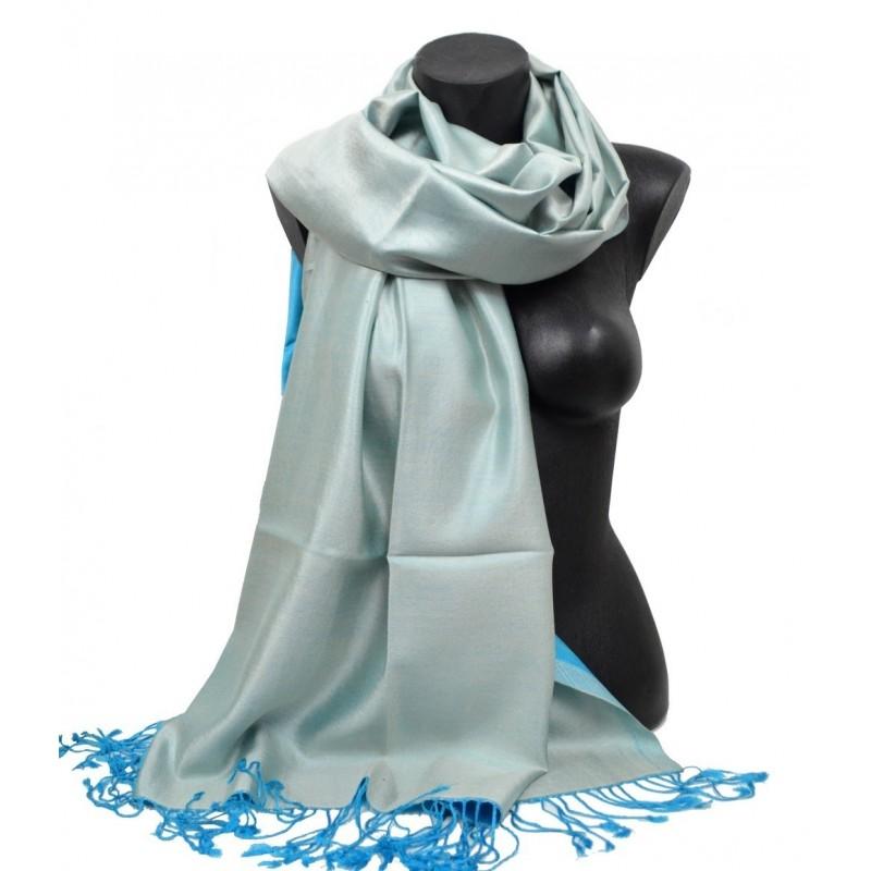 Etole en soie réversible bleue et bleu clair