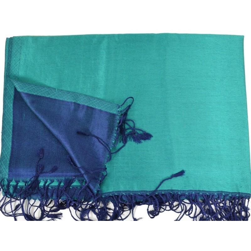 Etole en soie réversible verte et bleue