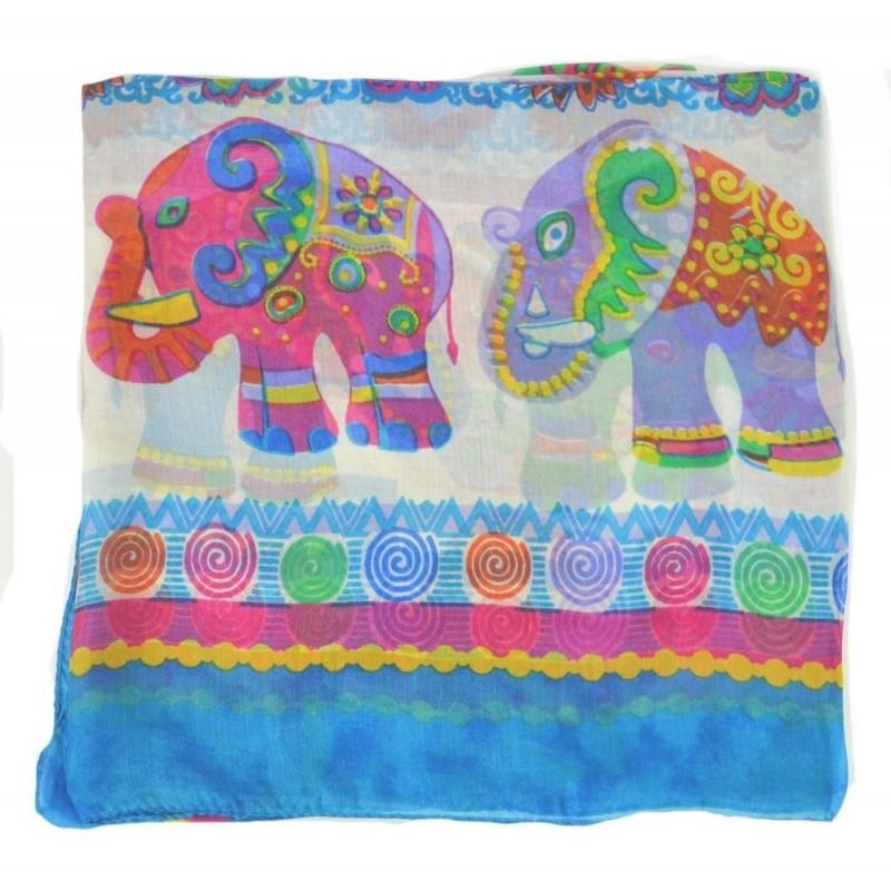 Carré soie éléphants bleu clair