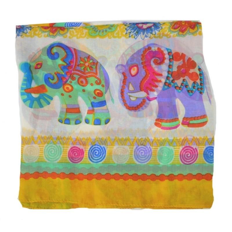 Carré soie éléphants jaune