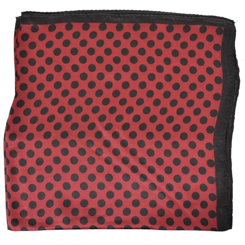 Petit carré en soie rouge à pois