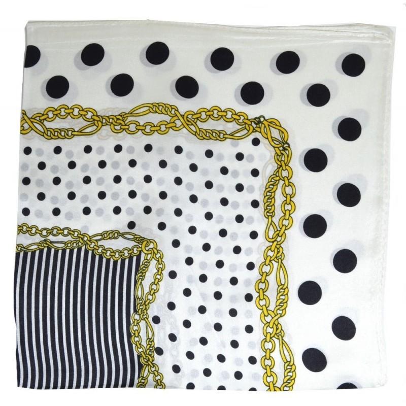 Petit carré soie blanc pois et rayures noirs