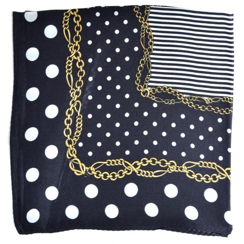 Petit carré soie noir à pois et rayures blancs