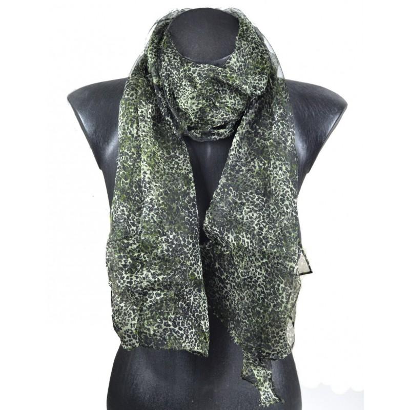 Foulard en mousseline de soie fauve noir et vert