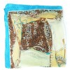 Petit carré en soie turquoise et beige