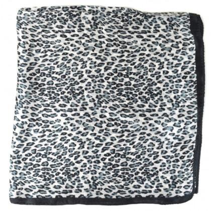 Petit carré en soie panthère noir et blanc