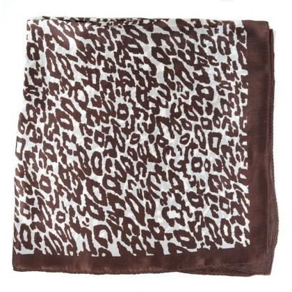 Petit carré en soie panthère marron et blanc
