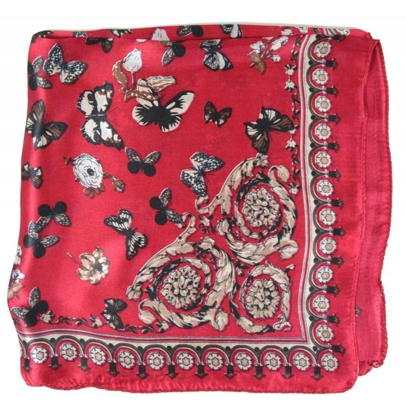 Petit carré en soie rouge à papillons