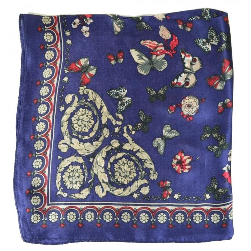 Petit carré en soie bleu à papillons