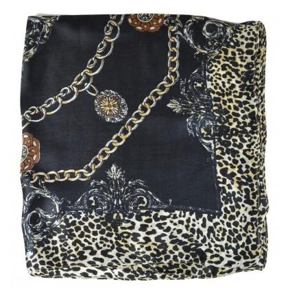 Petit carré en soie noir fauve et chaines