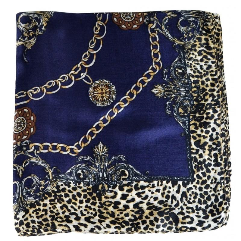 Petit carré en soie bleu fauve et chaines