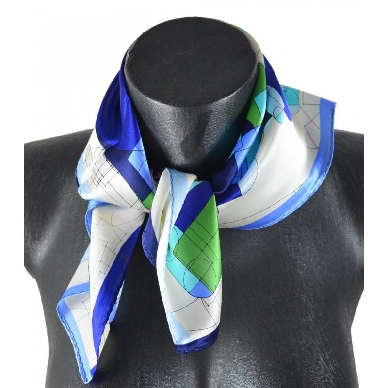 Petit carré en soie bleu et vert  - qual. sup