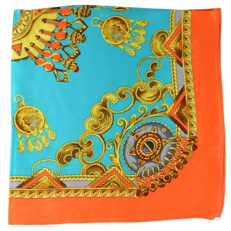 Petit carré en soie orange et turquoise  - qual. sup
