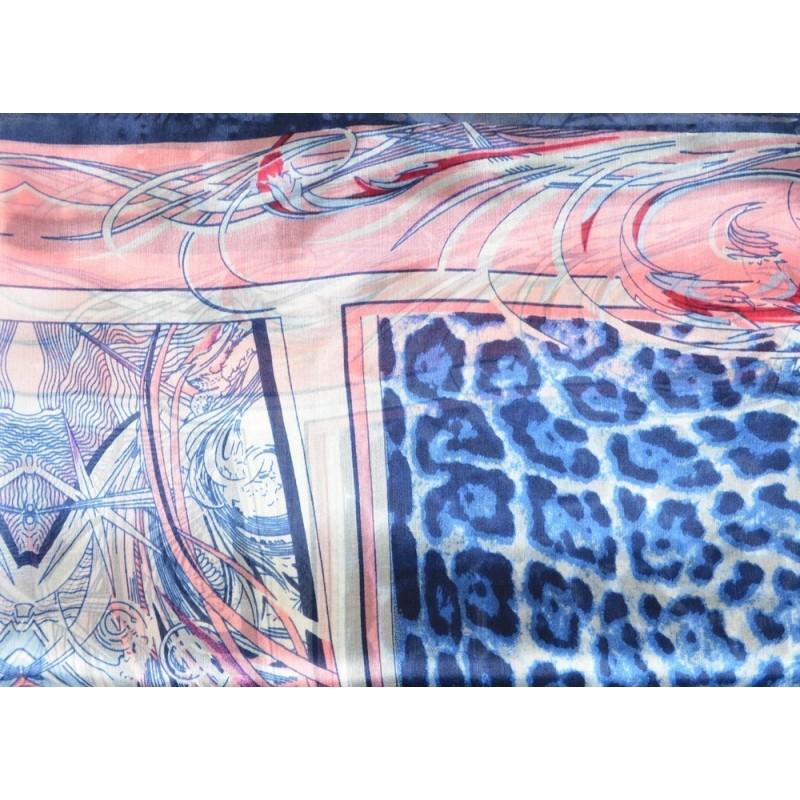 Etole en soie fauve bleue et rose