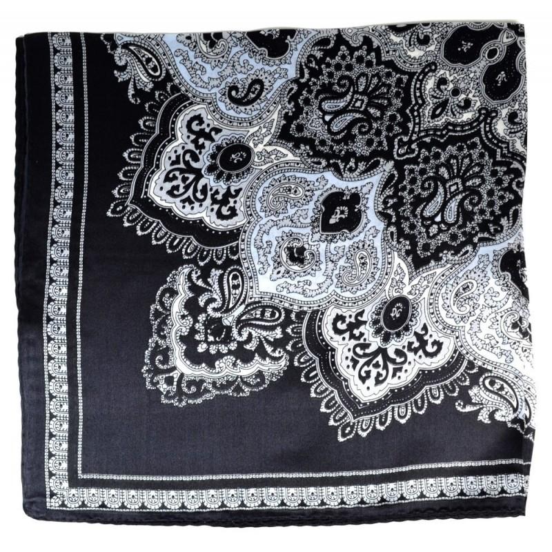 Petit carré en soie paisley noir-gris
