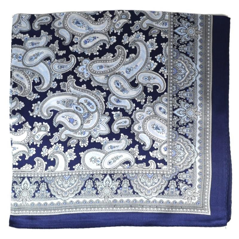 Petit carré en soie paisley bleu