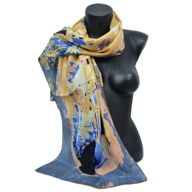 Echarpe en soie bleue et rose