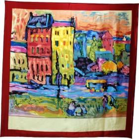 Foulard carré motif tableau village