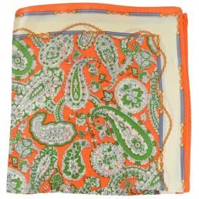 Petit carré en soie paisley orange