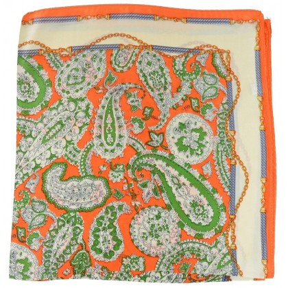 Petit carré en soie paisley orange