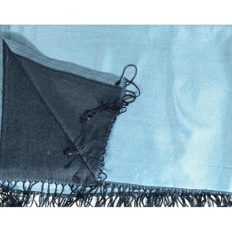 Etole en soie réversible bleu clair - noir
