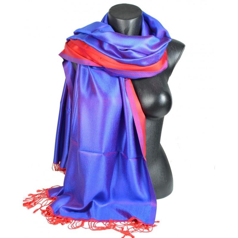 Etole en soie réversible bleue et rouge