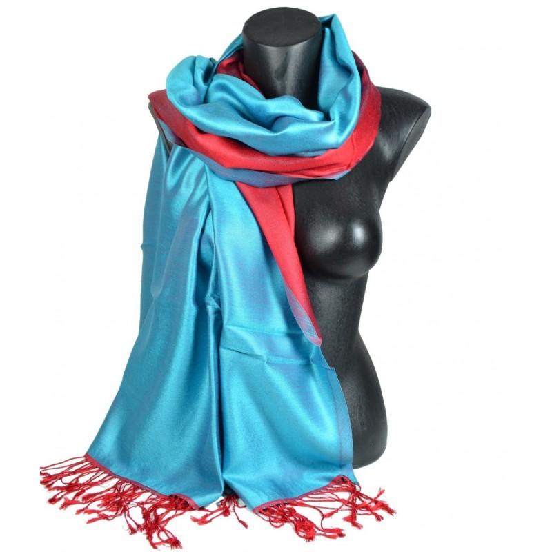 Etole en soie réversible bleu turquoise et rouge