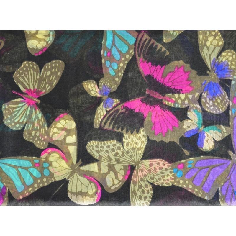 Etole en soie noire à papillons