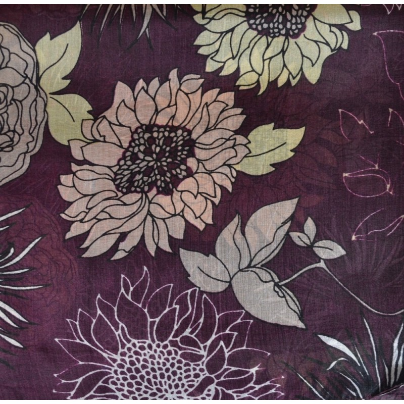 Etole en soie prune à fleurs
