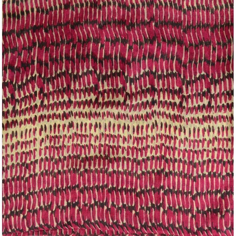 Carré soie mixte beige et rose