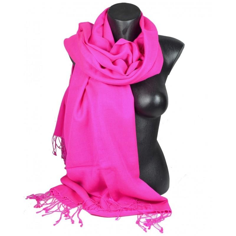 Etole en soie et cachemire rose vif