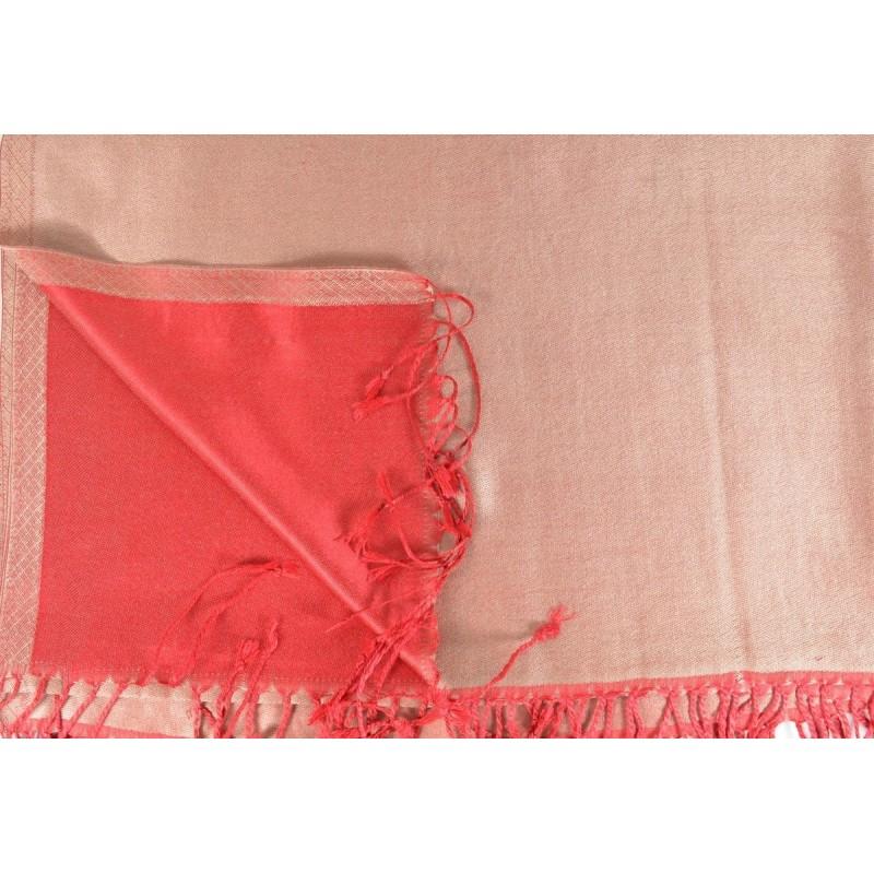 Etole en soie réversible rose clair et rouge