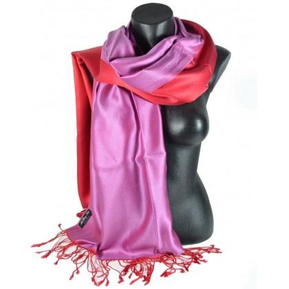 Etole en soie réversible rose vif et rouge