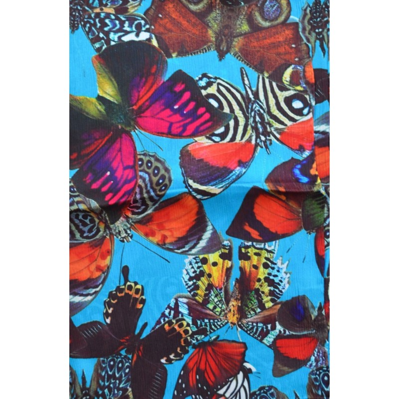 Grande écharpe crêpe de Chine papillons