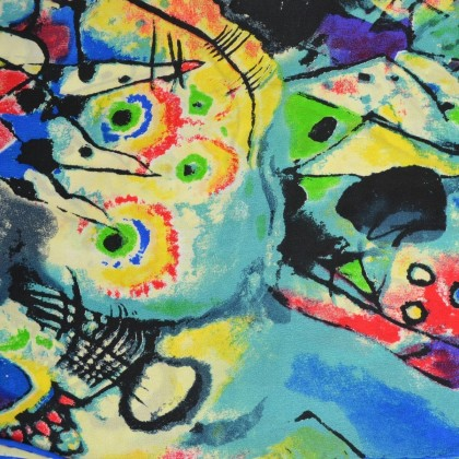 Echarpe en soie Kandinsky vs bleu-jaune