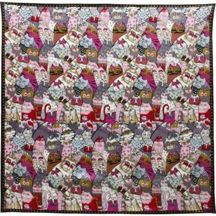 Foulard carré motif tableau multi-chats
