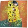 "Foulard soie ""Le baiser"" Klimt version marron-jaune"