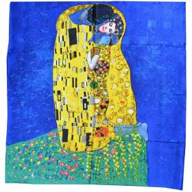 "Foulard soie ""Le baiser"" Klimt version bleu-jaune"