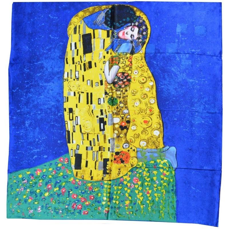 """Foulard soie """"Le baiser"""" Klimt version bleu-jaune"""