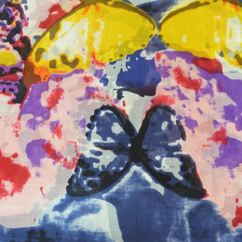 Etole en soie gris ardoise à papillons