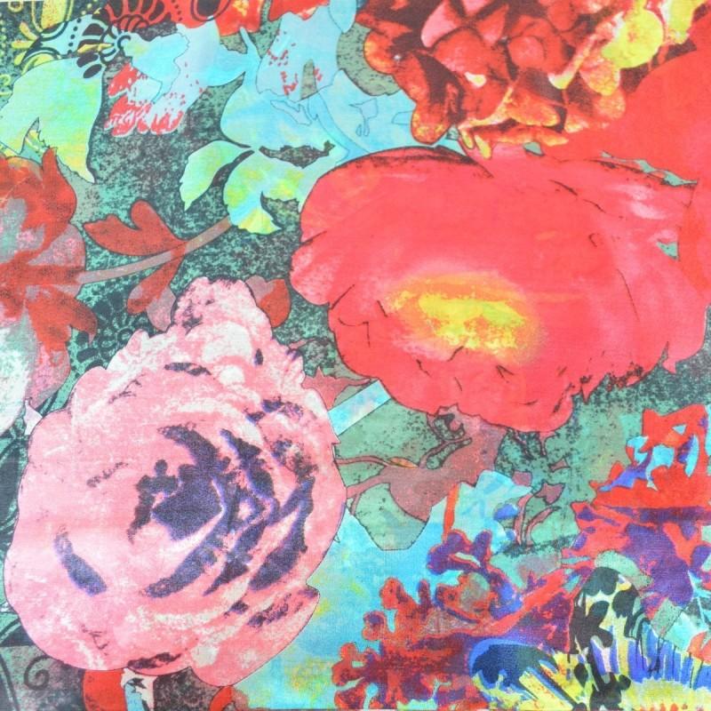 Etole en soie fleurs coquillages rouge