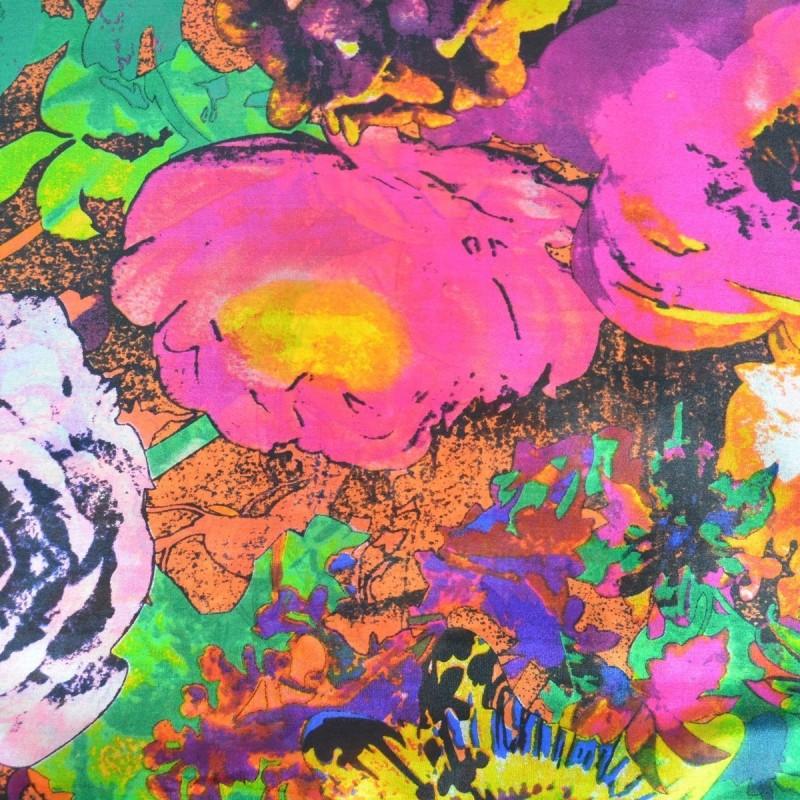 Etole en soie fleurs coquillages rose