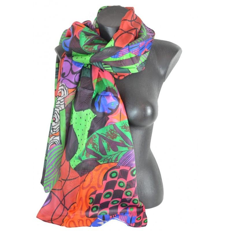 Etole en soie fleurs multicolores