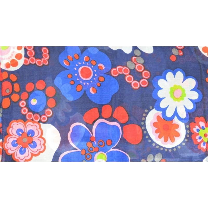 Etole en soie bleue grandes fleurs